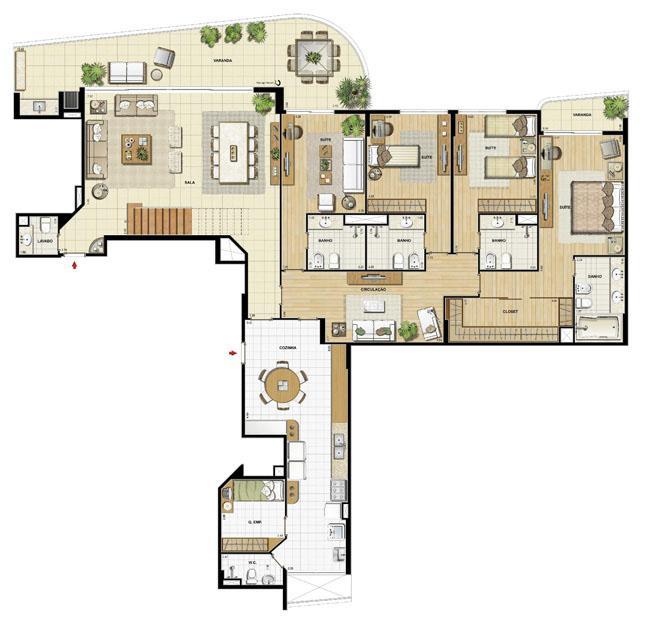 Edifício Le Petit Anse - Planta do 15º pvto. (col. 2) | Saint Barth – Apartamento na  Barra da Tijuca - Rio de Janeiro - Rio de Janeiro