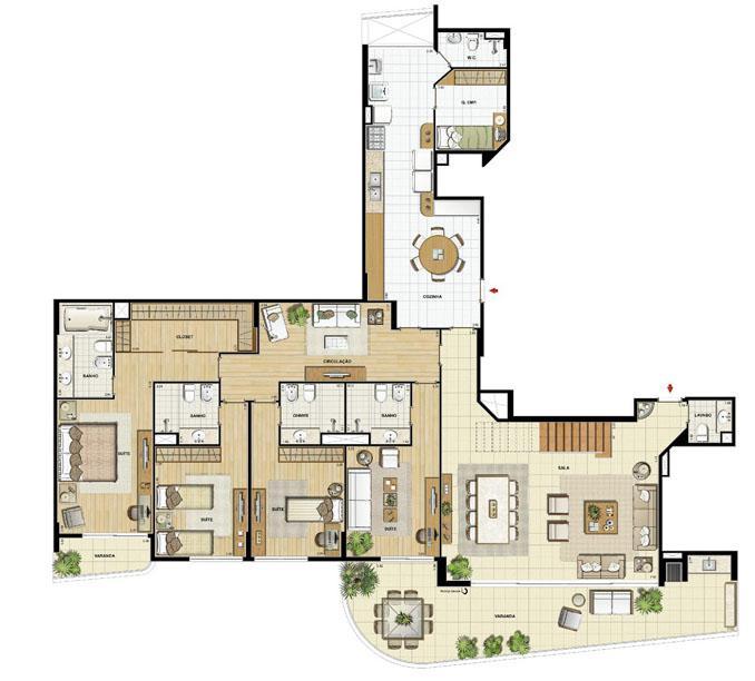 Edifício Le Petit Anse - Planta do 15º pvto. (col. 3) | Saint Barth – Apartamento na  Barra da Tijuca - Rio de Janeiro - Rio de Janeiro