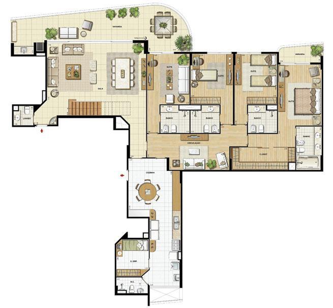Edifício Le Petit Anse - Planta do 15º pvto. (col. 4) | Saint Barth – Apartamento na  Barra da Tijuca - Rio de Janeiro - Rio de Janeiro