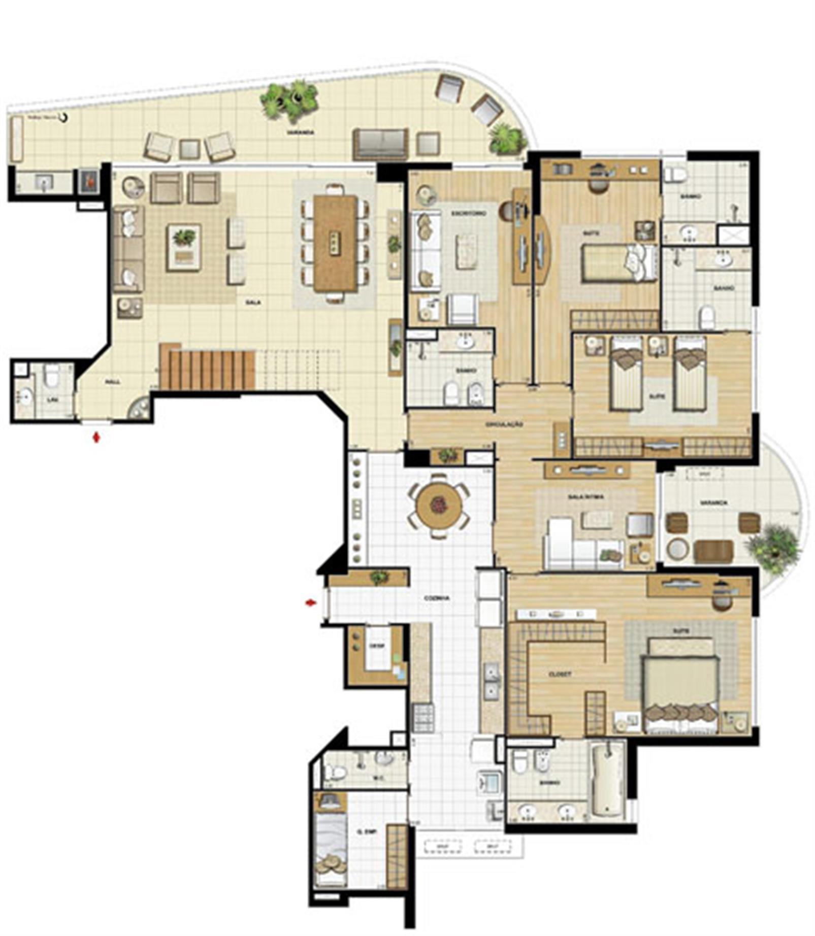 Edifício Le Petit Anse - Planta do 15º pvto. (col. 6) | Saint Barth – Apartamentona  Barra da Tijuca - Rio de Janeiro - Rio de Janeiro