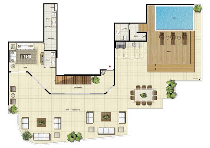 Edifício Le Petit Anse - Planta da dependência do 15º pvto. (col. 5) | Saint Barth – Apartamento na  Barra da Tijuca - Rio de Janeiro - Rio de Janeiro