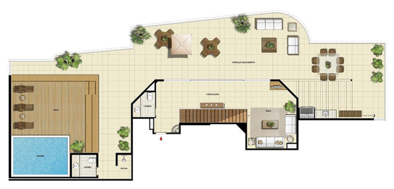 Edifício Le Petit Anse - Planta da dependência do 15º pvto. (col. 6) | Saint Barth – Apartamentona  Barra da Tijuca - Rio de Janeiro - Rio de Janeiro
