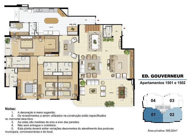 Edifício Gouverneur - Planta do 15º pavimento (col. 1 e 2) | Saint Barth – Apartamento na  Barra da Tijuca - Rio de Janeiro - Rio de Janeiro