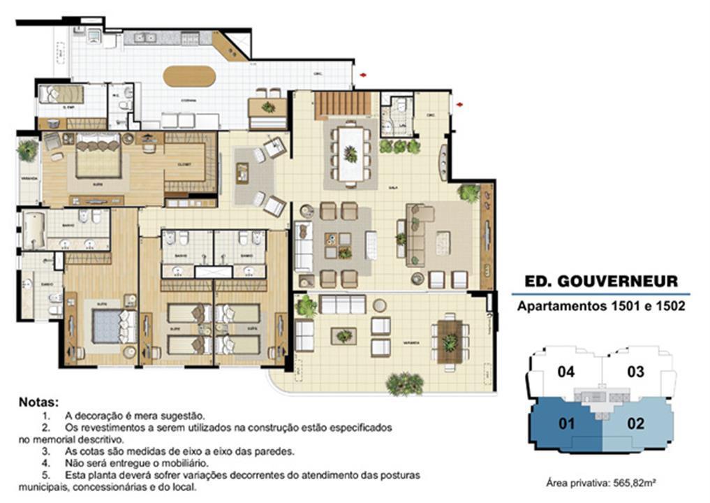 Edifício Gouverneur - Planta do 15º pavimento (col. 1 e 2) | Saint Barth – Apartamentona  Barra da Tijuca - Rio de Janeiro - Rio de Janeiro