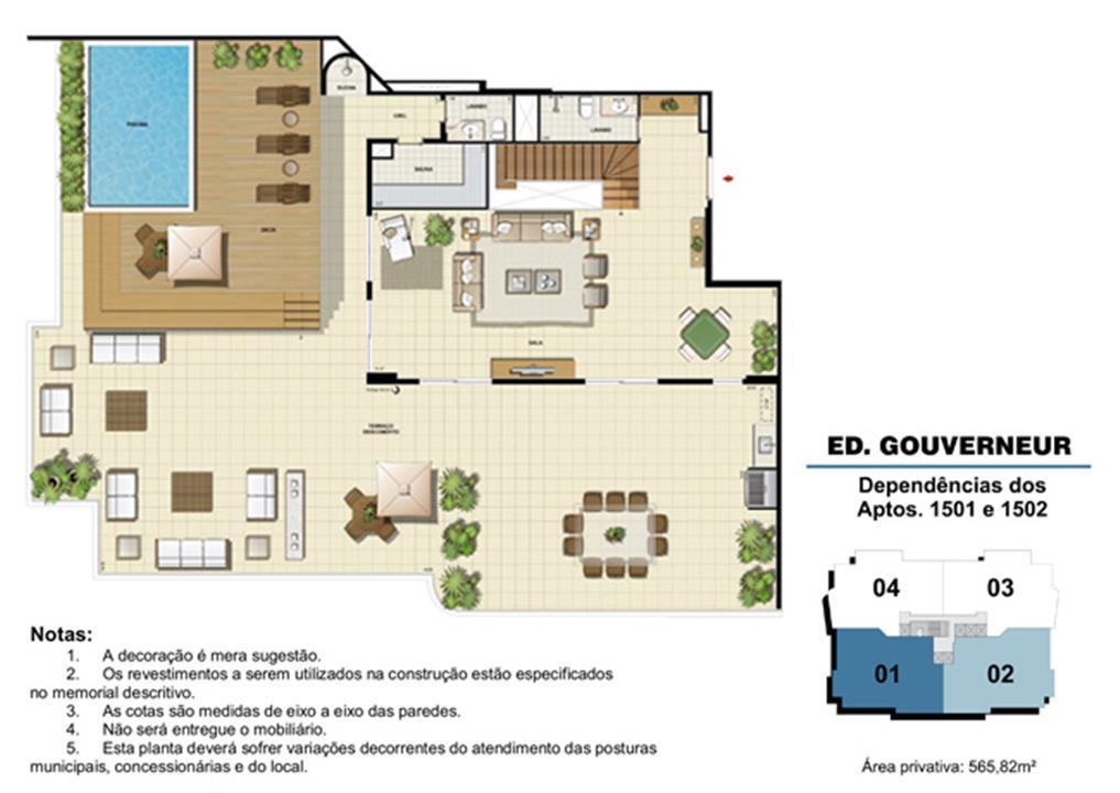 Edifício Gouverneur - Planta das dependências do 15º pavimento (col. 1 e 2) | Saint Barth – Apartamentona  Barra da Tijuca - Rio de Janeiro - Rio de Janeiro