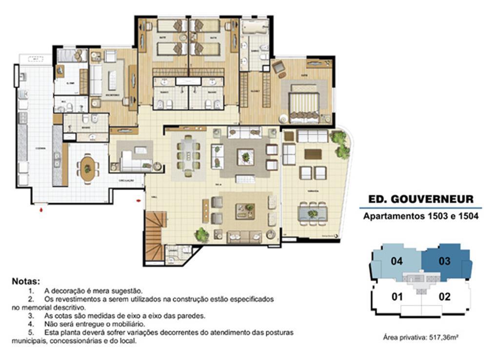 Edifício Gouverneur - Planta do 15º pavimento (col. 3 e 4) | Saint Barth – Apartamentona  Barra da Tijuca - Rio de Janeiro - Rio de Janeiro