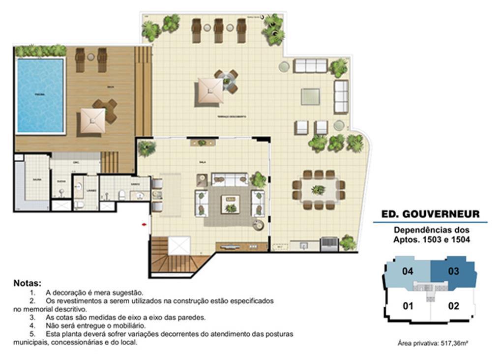 Edifício Gouverneur - Planta das dependências do 15º pavimento (col. 3 e 4) | Saint Barth – Apartamentona  Barra da Tijuca - Rio de Janeiro - Rio de Janeiro