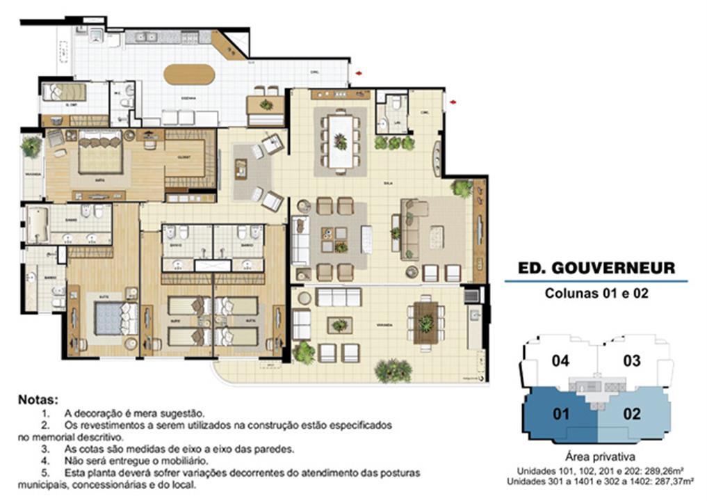 Edifício Gouverneur - Planta do 1º ao 14º pavimento (col. 1 e 2) | Saint Barth – Apartamentona  Barra da Tijuca - Rio de Janeiro - Rio de Janeiro
