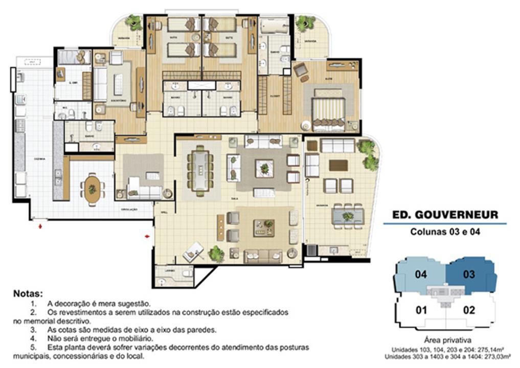 Edifício Gouverneur - Planta do 1º ao 14º pavimento (col. 3 e 4) | Saint Barth – Apartamentona  Barra da Tijuca - Rio de Janeiro - Rio de Janeiro
