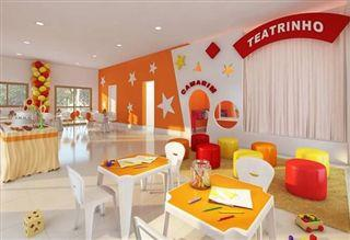 Salão de festas infantil com teatrinho