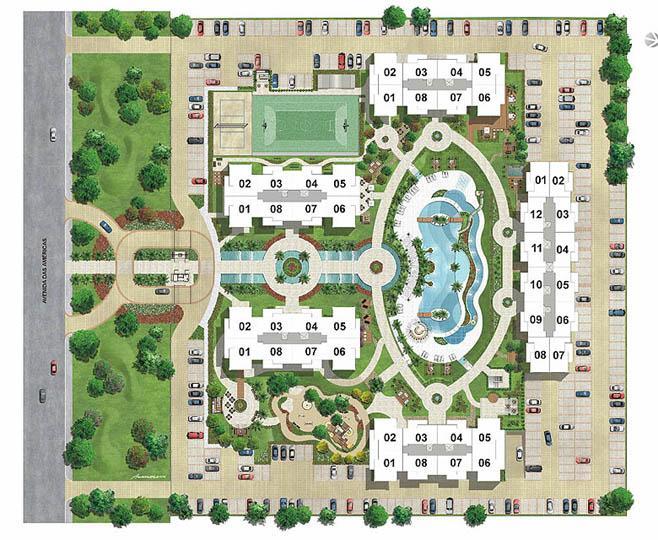 Perspectiva Ilustrada   Implantação com posição das unidades | Barra Family Resort – Apartamento na  Barra da Tijuca - Rio de Janeiro - Rio de Janeiro