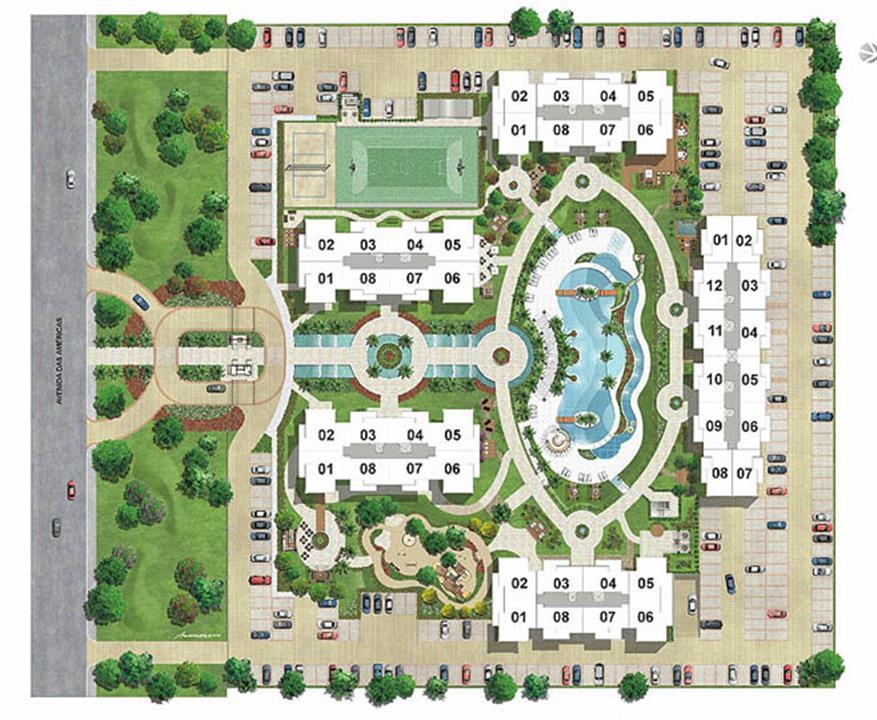 Perspectiva Ilustrada   Implantação com posição das unidades | Barra Family Resort – Apartamentona  Barra da Tijuca - Rio de Janeiro - Rio de Janeiro
