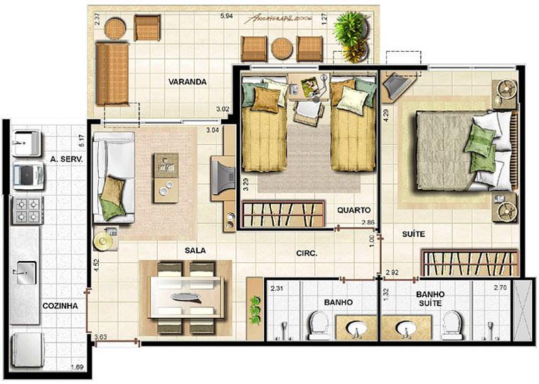 2 quartos   67,51 m² | Barra Family Resort – Apartamento na  Barra da Tijuca - Rio de Janeiro - Rio de Janeiro