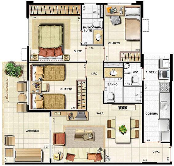 3 quartos   83,33m² | Barra Family Resort – Apartamento na  Barra da Tijuca - Rio de Janeiro - Rio de Janeiro