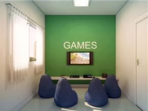 Perspectiva ilustrada do salão de games