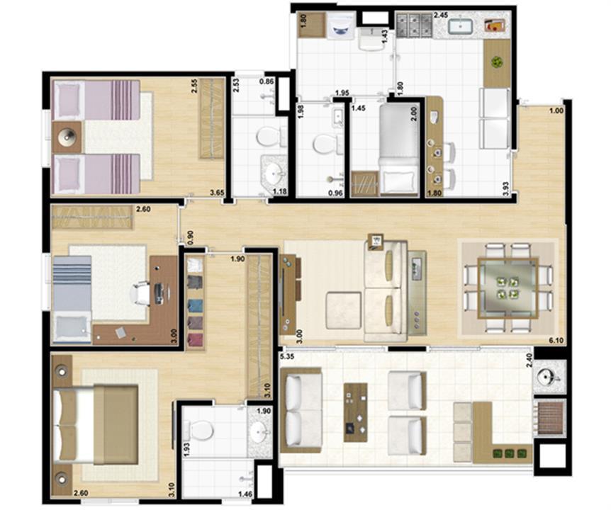 Planta tipo 3 dormitórios com suíte - 104 m² privativos | Accanto – Apartamentono  Jardim Anália Franco - São Paulo - São Paulo