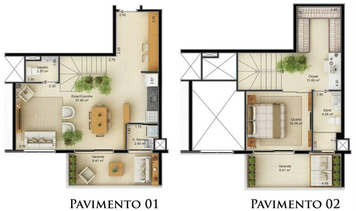 Planta Duplex 90,74 m² | Mandarim Salvador Shopping – Apartamento	no  Ao lado do Salvador Shopping - Salvador - Bahia