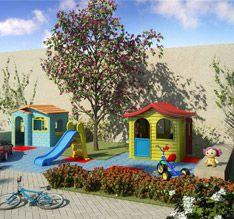 Perspectiva ilustrada da mini cidade infantil