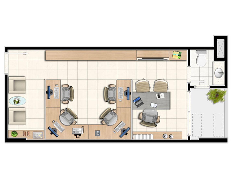 Planta tipo da sala de 33,75 m² | Next Medical e Office – Salas Comerciais em  Castanheira - Belém - Pará