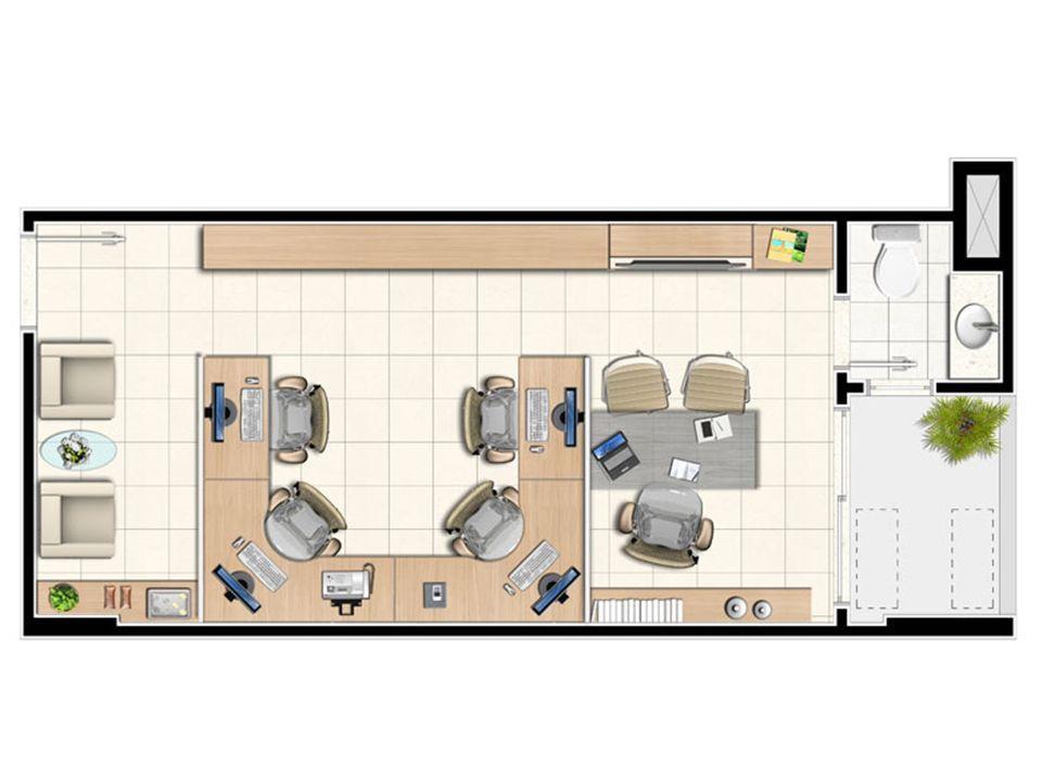 Planta tipo da sala de 33,75 m² | Next Medical e Office – Salas Comerciaisem  Castanheira - Belém - Pará