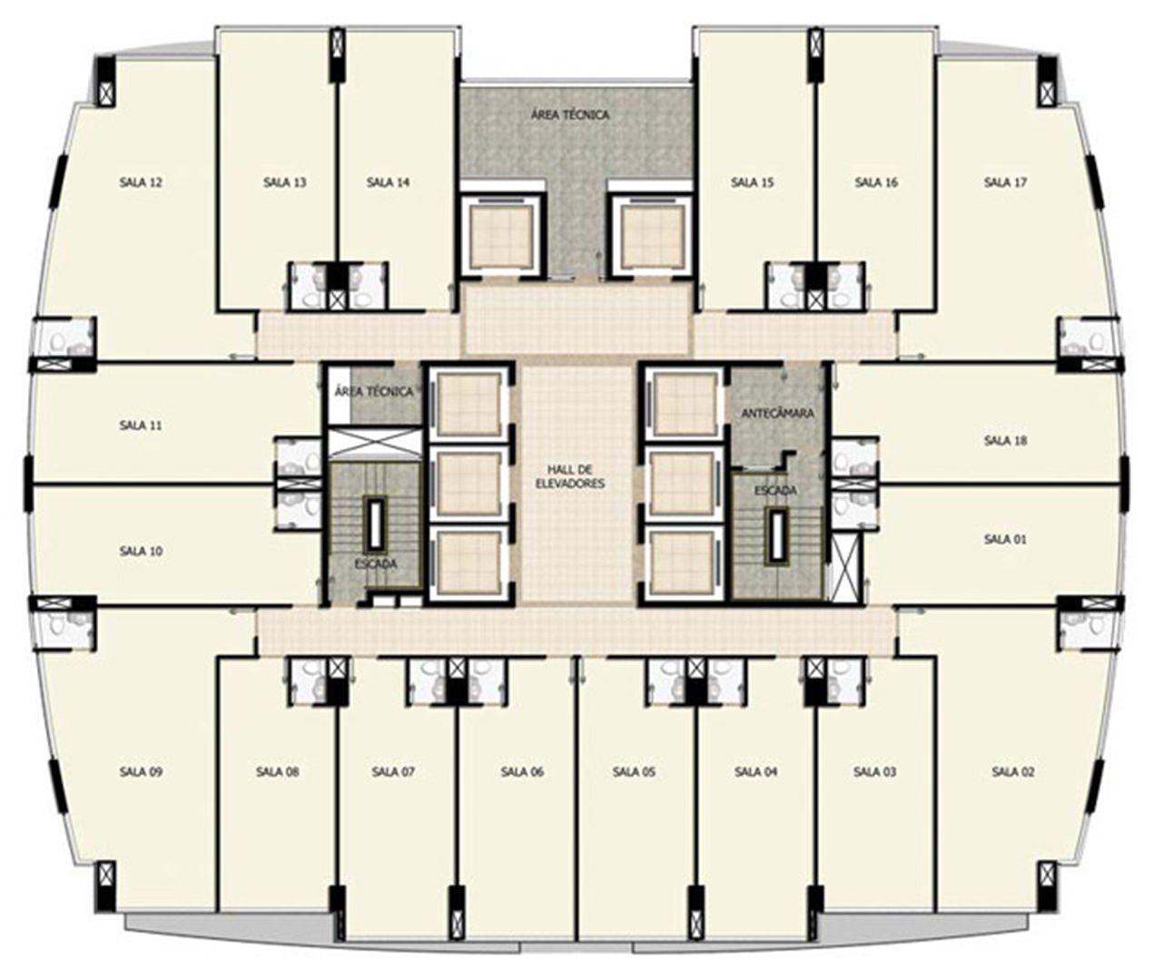 Planta Tipo 7º a 24º pavimento | Salvador Shopping Business – Salas Comerciais  Ao lado do Salvador Shopping - Salvador - Bahia