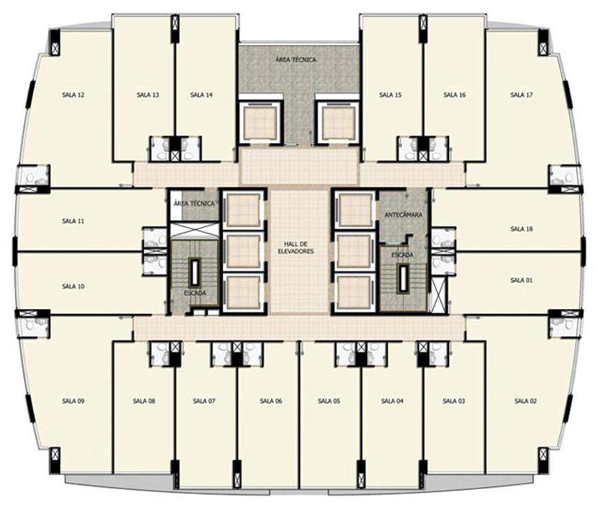Planta Tipo 7º a 24º pavimento | Salvador Shopping Business – Salas Comerciaisno  Ao lado do Salvador Shopping - Salvador - Bahia