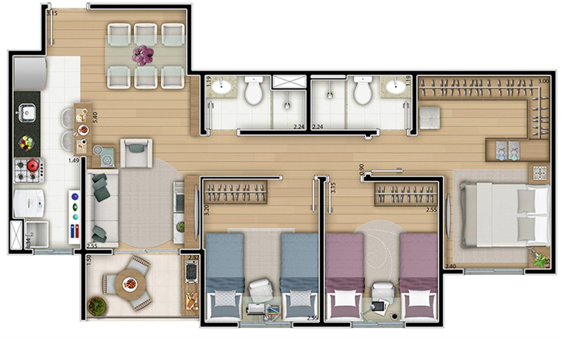Planta tipo 71,50 m² 3 dorms
