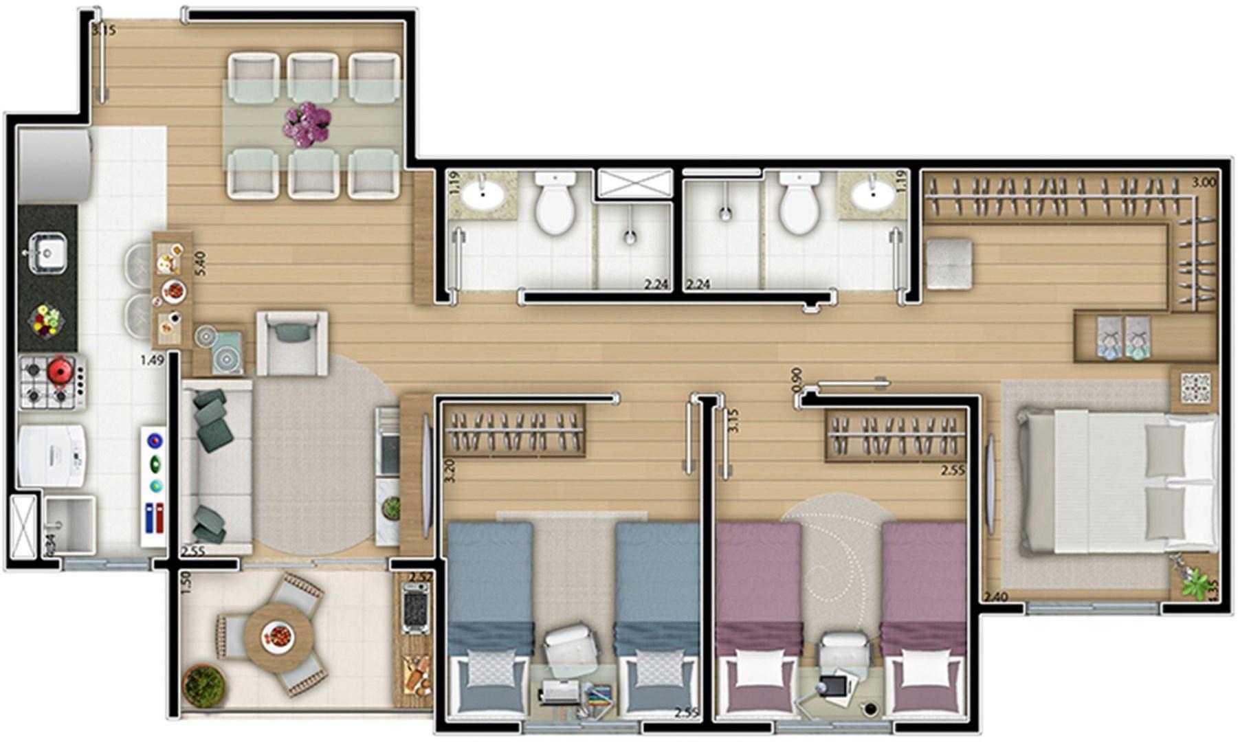 Planta tipo 71,50 m² 2 dorms (1 suíte) Opção com a sala ampliada