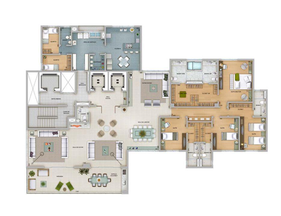 Planta tipo 359 m² | Olympus - Artemis – Apartamentona  Vila da Serra - Nova Lima - Minas Gerais