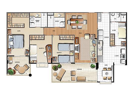 Planta 126,12m² | Le Parc Residential Resort – Apartamento na  Barra da Tijuca - Rio de Janeiro - Rio de Janeiro