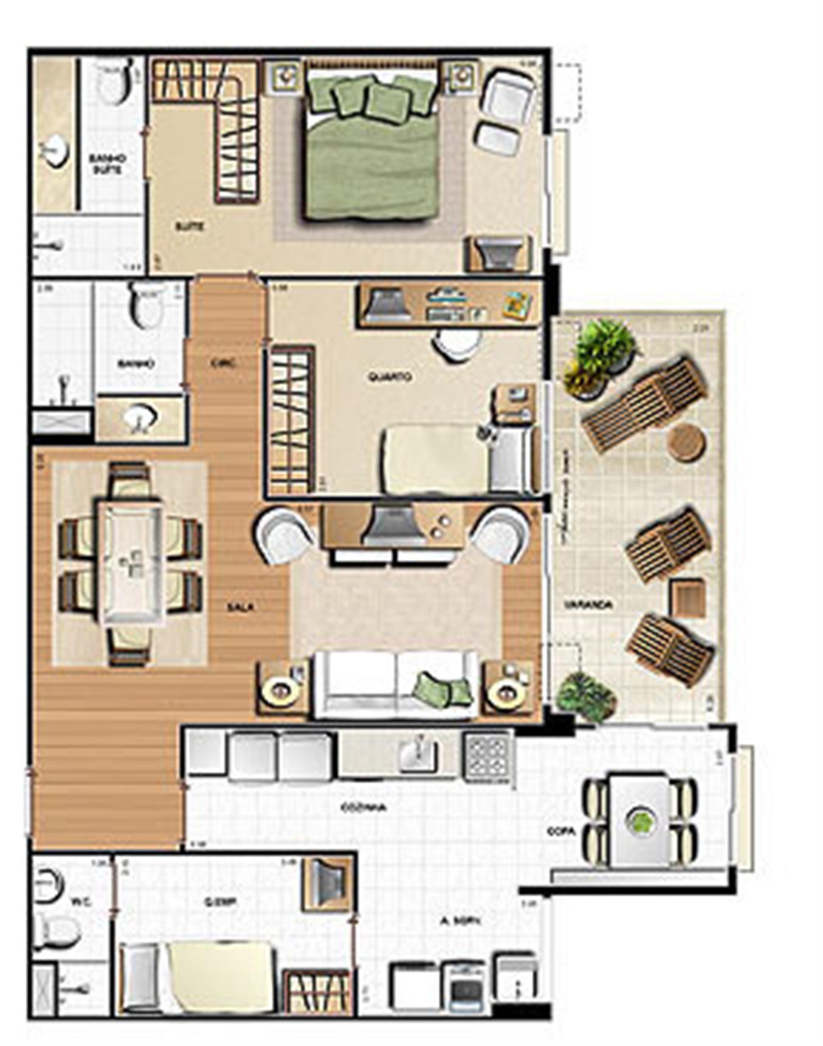 Planta 99.63m² | Le Parc Residential Resort – Apartamentona  Barra da Tijuca - Rio de Janeiro - Rio de Janeiro