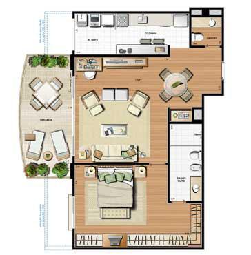 Planta 100.26m² | Le Parc Residential Resort – Apartamento na  Barra da Tijuca - Rio de Janeiro - Rio de Janeiro