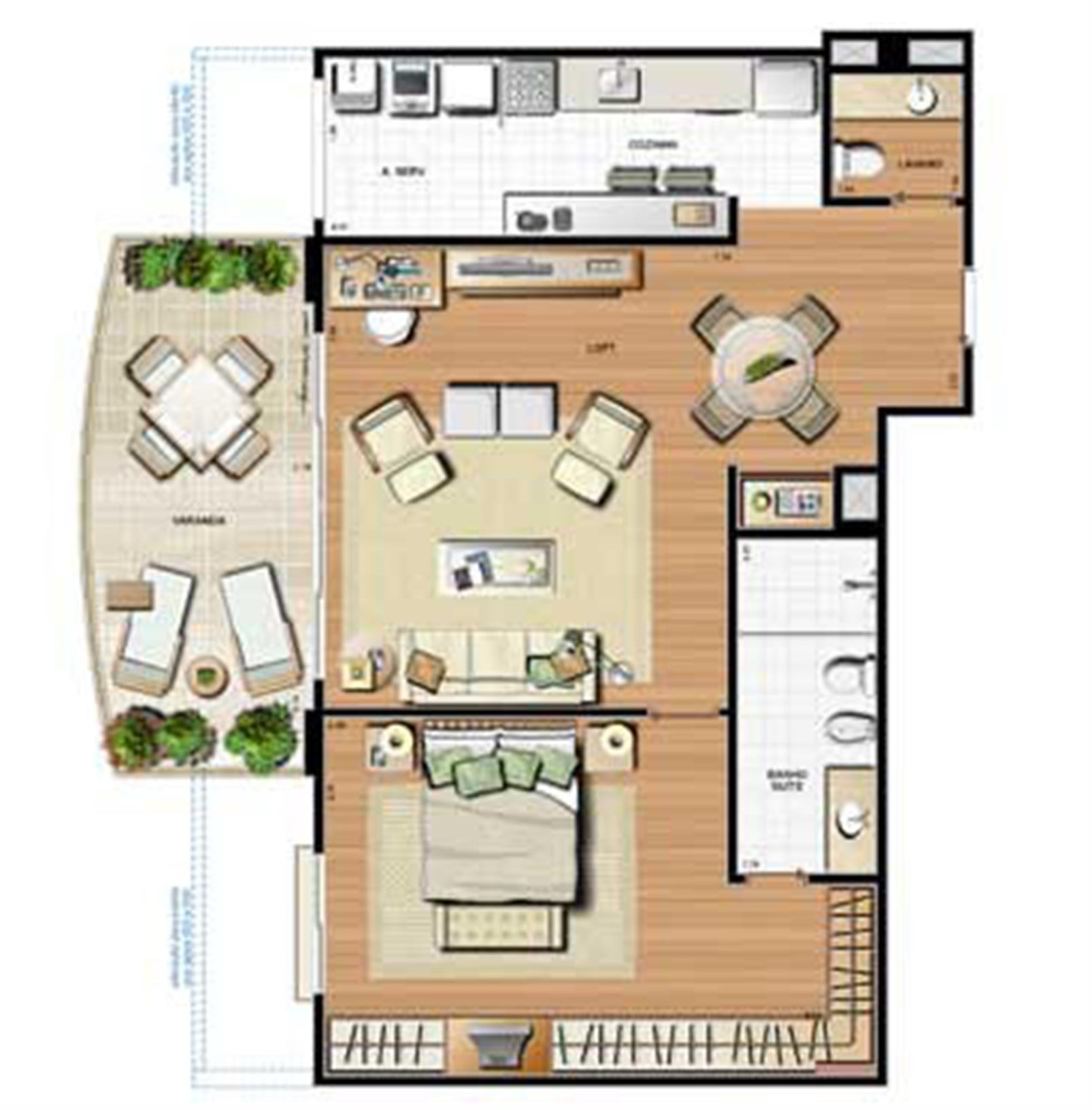 Planta 100.26m² | Le Parc Residential Resort – Apartamentona  Barra da Tijuca - Rio de Janeiro - Rio de Janeiro