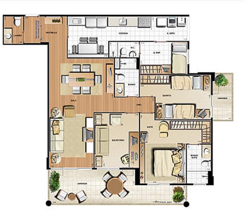 Planta 129.53m² | Le Parc Residential Resort – Apartamentona  Barra da Tijuca - Rio de Janeiro - Rio de Janeiro