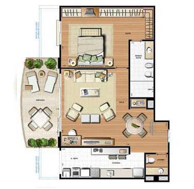 Planta 99.83m² | Le Parc Residential Resort – Apartamento na  Barra da Tijuca - Rio de Janeiro - Rio de Janeiro