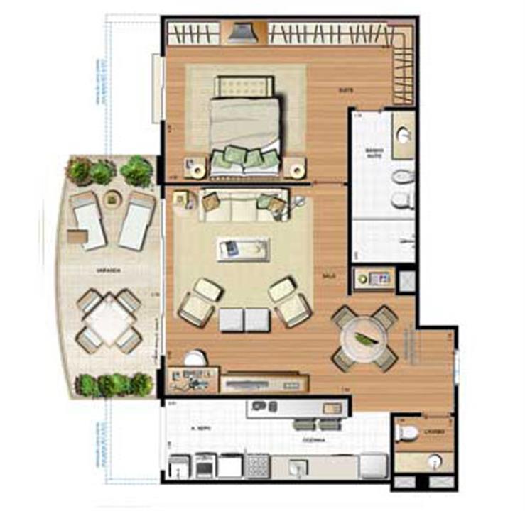Planta 99.83m² | Le Parc Residential Resort – Apartamentona  Barra da Tijuca - Rio de Janeiro - Rio de Janeiro