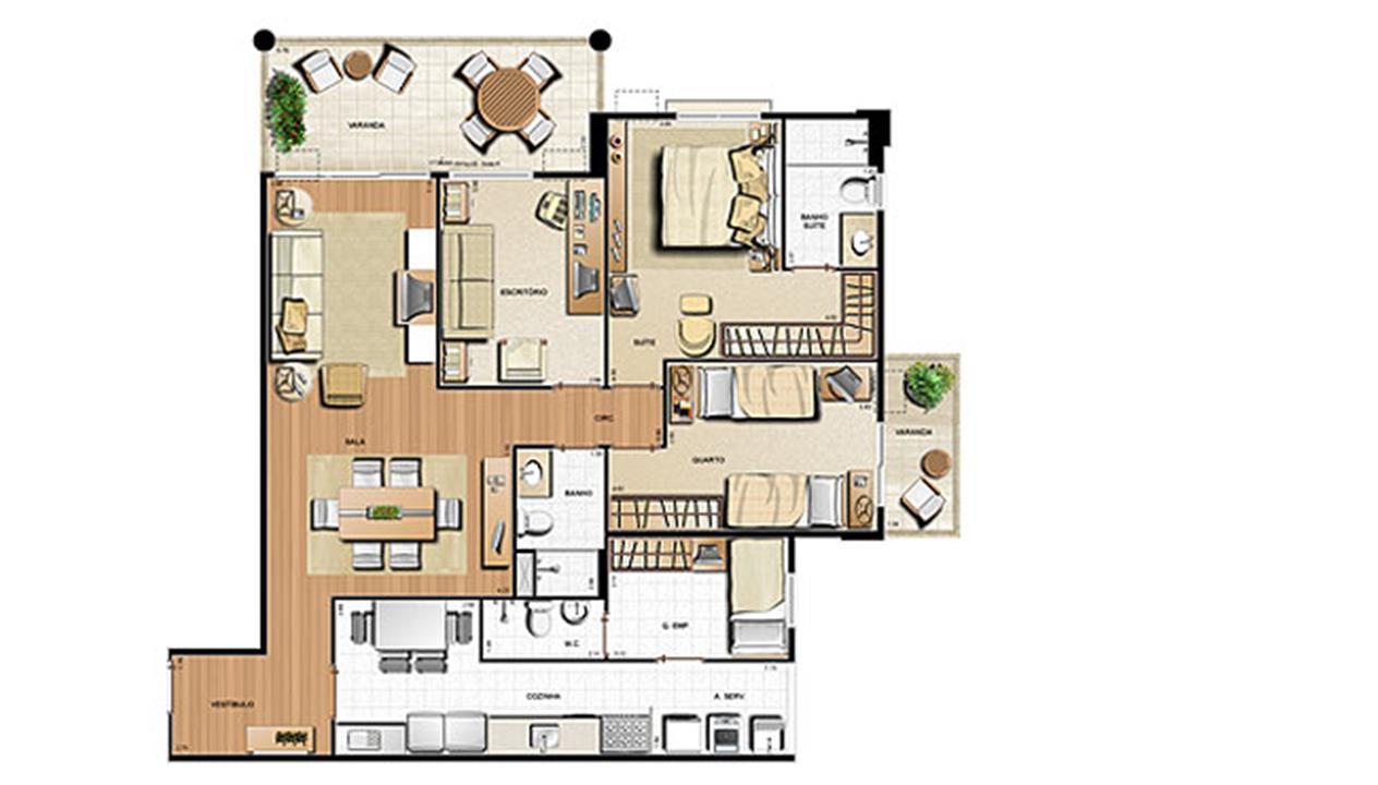 Planta 123.21m² | Le Parc Residential Resort – Apartamentona  Barra da Tijuca - Rio de Janeiro - Rio de Janeiro