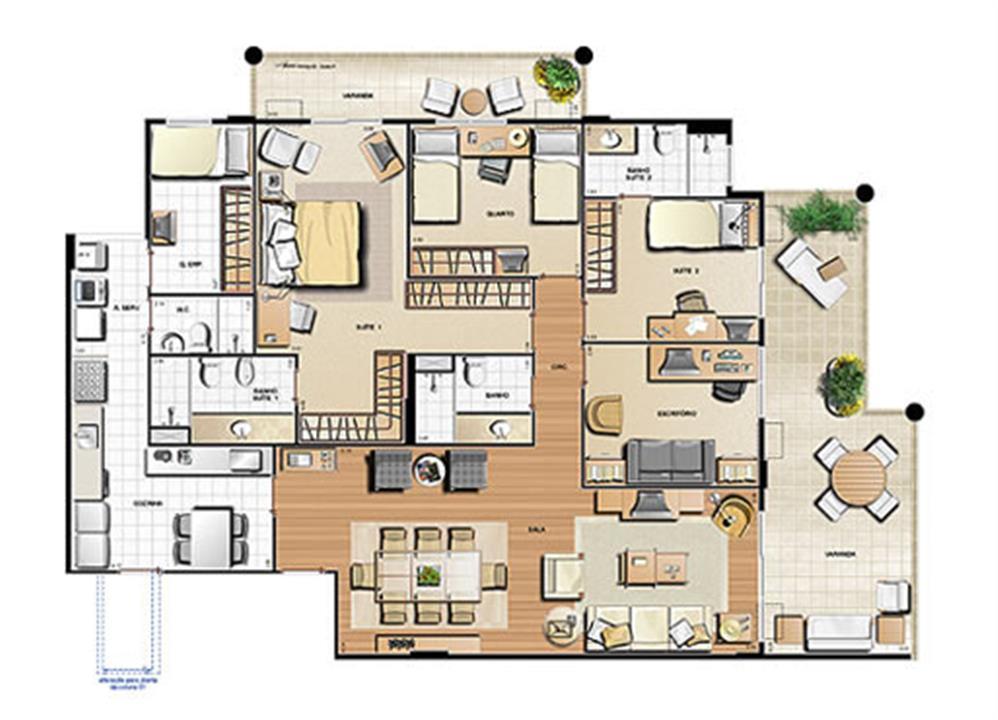 Planta 170,76m² | Le Parc Residential Resort – Apartamentona  Barra da Tijuca - Rio de Janeiro - Rio de Janeiro