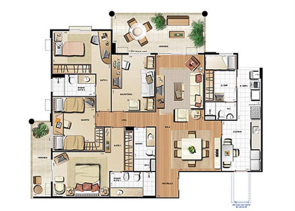 Planta 148,71m² | Le Parc Residential Resort – Apartamentona  Barra da Tijuca - Rio de Janeiro - Rio de Janeiro