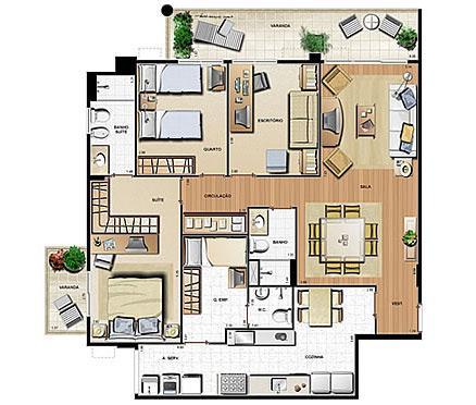 Planta 121.23m² | Le Parc Residential Resort – Apartamento na  Barra da Tijuca - Rio de Janeiro - Rio de Janeiro