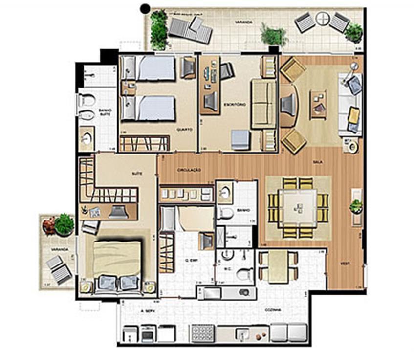 Planta 121.23m² | Le Parc Residential Resort – Apartamentona  Barra da Tijuca - Rio de Janeiro - Rio de Janeiro