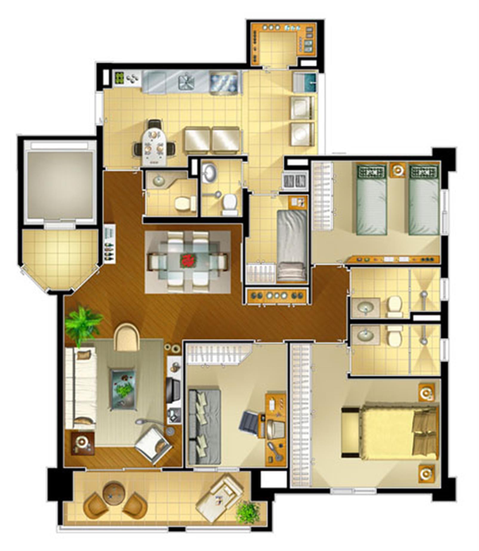 Planta tipo 107 m² com 3 dorm. (1 suíte) | Portale della Mooca – Apartamentona  Mooca - São Paulo - São Paulo