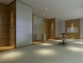 Perspectiva Ilustrada - Lobby com pé direito duplo