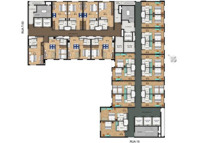 Planta Pavimento Tipo 4º ao 10º | Blend - HotelStyle – Apartamento no  Setor Marista - Goiânia - Goiás