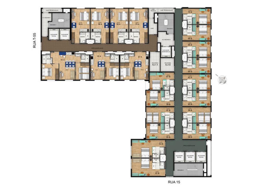 Planta Pavimento Tipo 18º ao 20º | Blend - HotelStyle – Apartamentono  Setor Marista - Goiânia - Goiás