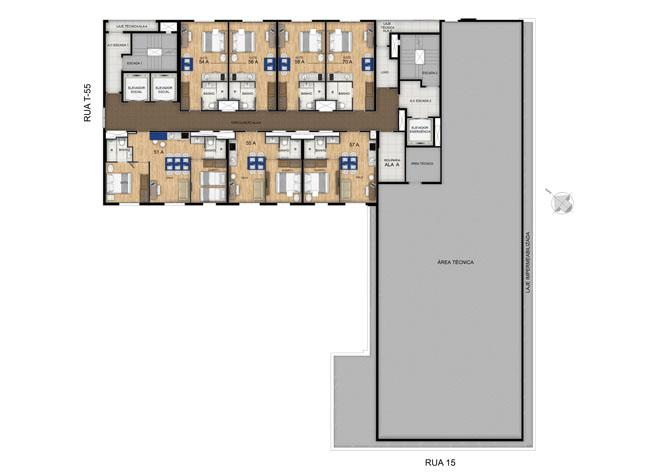 Planta 22º Pavimento | Blend - HotelStyle – Apartamento no  Setor Marista - Goiânia - Goiás