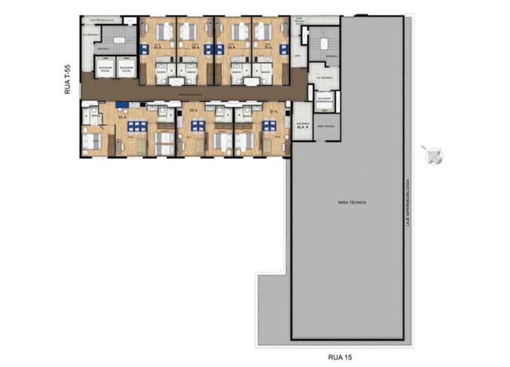 Planta 22º Pavimento | Blend - HotelStyle – Apartamentono  Setor Marista - Goiânia - Goiás