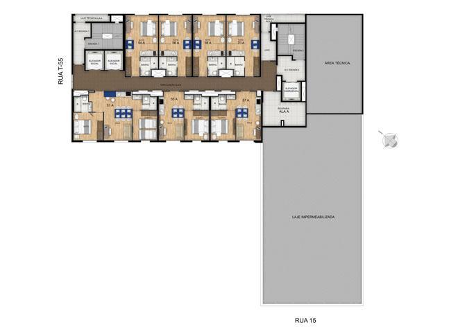 Planta 23º Pavimento | Blend - HotelStyle – Apartamento no  Setor Marista - Goiânia - Goiás