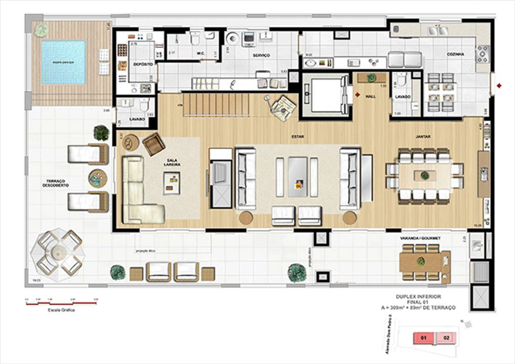 COBERTURA DUPLEX INFERIOR | Dom Batel – Apartamentono  Batel - Curitiba - Paraná