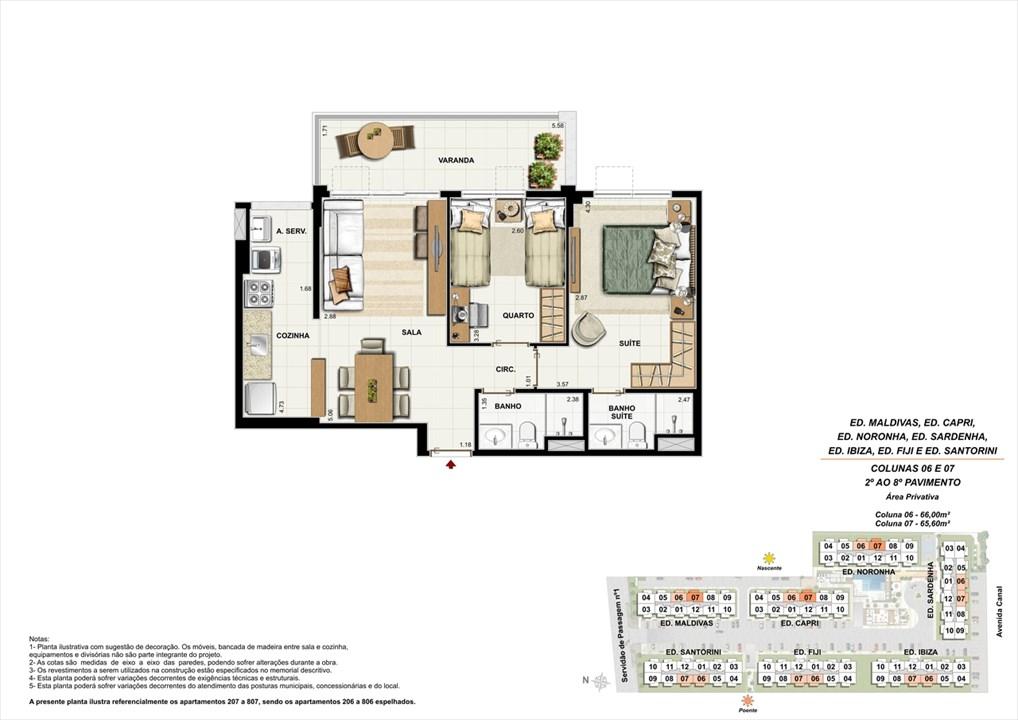 Colunas 06 e 07 - 02º ao 08º andar | Ocean Pontal Residence – Apartamentono  Recreio dos Bandeirantes - Rio de Janeiro - Rio de Janeiro